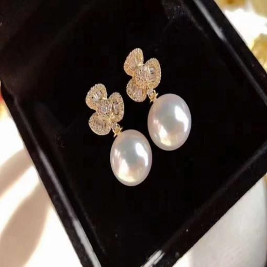 Lucky 18-Karat Gold Clover Pearl Earrings  -EBOOMYA